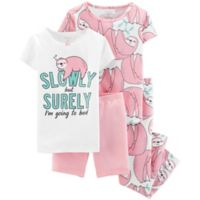 carter's® Size 18M 4-Piece Sloth Pajama Set in White