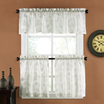 palm burnout linen 24inch window curtain tier pair