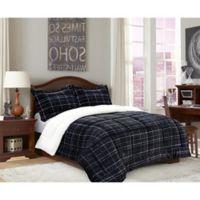 Elegant Comfort Luxury Plaid Sherpa 2-Piece Reversible Twin Comforter Set in Black