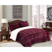 Elegant Comfort Luxury Plaid Sherpa 2-Piece Reversible Twin Comforter Set in Burgundy