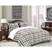 Elegant Comfort Luxury Plaid Sherpa 3-Piece Reversible Full/Queen Comforter Set in Beige