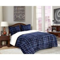 Elegant Comfort Luxury Plaid Sherpa 2-Piece Reversible Twin Comforter Set in Navy/Blue