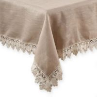Saro Lifestyle Venetto Lace 72-Inch Square Tablecloth in Taupe