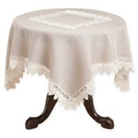 Saro Lifestyle Venetto Lace 36-Inch Square Table Topper Throw in Taupe