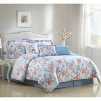 Carmela 7-Piece Reversible King Comforter Set in Blue