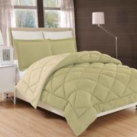 All Season Luxury Diamond Box King/California King Reversible Comforter Set in Sage/Cream