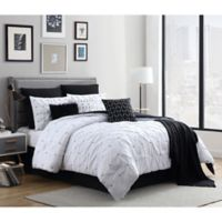Catelyn 10-Piece King Comforter Set in White/Black