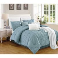 Catelyn 10-Piece Queen Comforter Set in Blue/Ivory