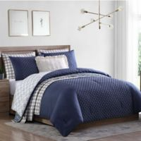 Jemima 7-Piece Reversible Full/Queen Comforter Set in Blue