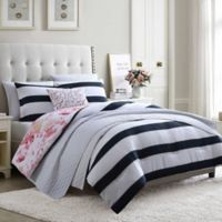Hampton Stripe 7-Piece Reversible Full/Queen Comforter Set in Blue