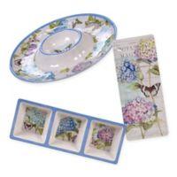 Certified International Hydrangea Garden 3-Piece Appetizer Set