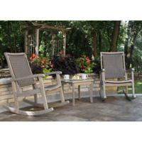 Outdoor Interiors® 3-Piece Eucalyptus & Wicker Rocking Chair Set in Grey