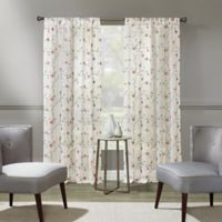 Magnolia Embroidered 63-Inch Rod Pocket Window Curtain Panel in Coral