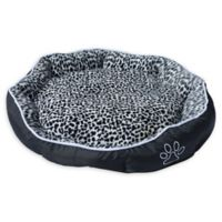 Small Plush Pet Bed with Removable Insert Pillow in Black/White Leopard