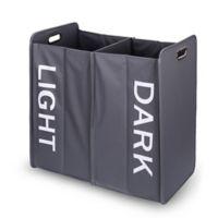 Danya B.™ Collapsible Double Bin Laundry Hamper Sorter in Grey