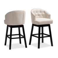"Baxton Studio® Linen Swivel Brad 30.9"" Bar Stool"
