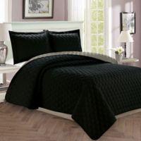 Luxury Diamond Full/Queen Reversible Quilt Set in Black/Grey