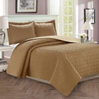 Majestic Stitch Twin/Twin XL Reversible Quilt Set in Taupe/Cream