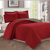Majestic Stitch King/California King Reversible Quilt Set in Burgundy/Grey