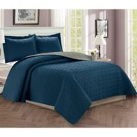 Majestic Stitch Twin/Twin XL Reversible Quilt Set in Navy/Grey