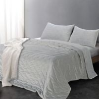 Luxe Embroidered Reversible King Quilt Set in Dusty Grey