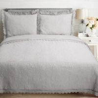 Crochet Lace Embroidered Reversible Full/Queen Quilt Set in Grey