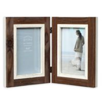 Prinz Shoreline 2-Photo 4-Inch x 6-Inch Hinged Picture Frame in White/Brown