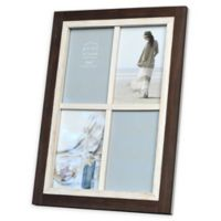 Prinz Shoreline 4-Photo 4-Inch x 6-Inch Picture Frame in White/Brown