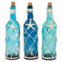 Gerson Tall Decorative Nautical Glass Bottles (Set of 3)