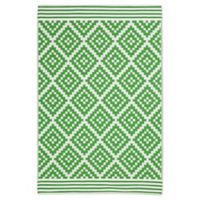 Patio Mats 2019 6' X 9' Flat-weave Area Rug in White/Green