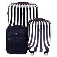 Ful® White Swirl 3-Piece Spinner Luggage Set in Black/White