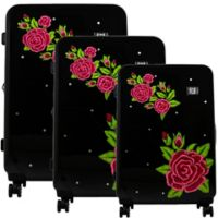 Ful® Printed Rose 3-Piece Hardside Spinner Luggage Set in Black