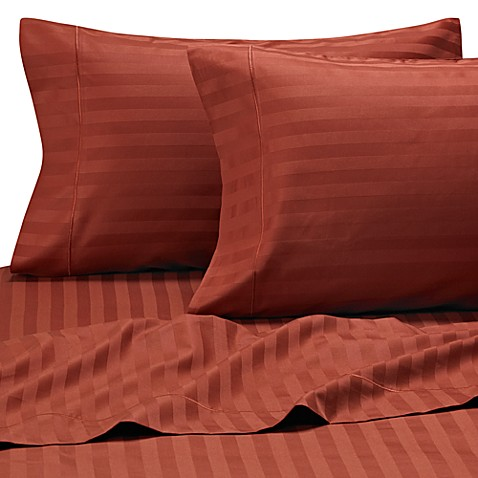 Wamsutta® 500 Damask Stripe King Pillowcases in Rust (Set of 2)