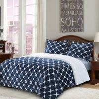 Bloomingdale Sherpa Down Alternative 2-Piece Twin Comforter Set in Navy/Blue