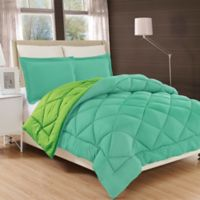 All Season Luxury Diamond Box King/California King Reversible Comforter Set in Aqua/Lime