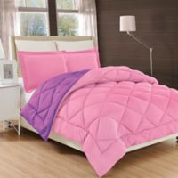 All Season Luxury Diamond Box Full/Queen Reversible Comforter Set in Pink/Purple