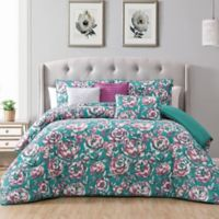 Florianna 5-Piece Reversible Twin Bedding Set in Teal/Berry