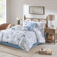 Madison Park Milo 7-Piece Reversible Queen Comforter Set in Blue/White