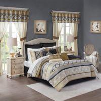 Madison Park Essentials Windsor 24-Piece Queen Comforter Set in Black/Gold