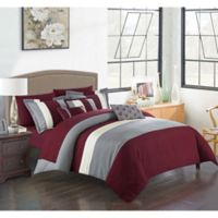Chic Home Rashi 10-Piece King Comforter Set in Burgundy