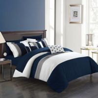Chic Home Rashi 10-Piece King Comforter Set in Navy