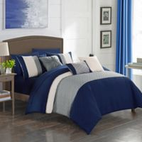 Shai 10-Piece King Comforter Set in Navy