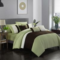 Shai 10-Piece King Comforter Set in Green