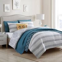 Jenavive 7-Piece Reversible Twin Comforter Set in Grey