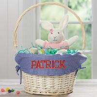 Personalized Willow Easter Basket with Drop-Down Handle in Navy Check