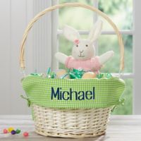 Personalized Willow Easter Basket with Drop-Down Handle in Green Check
