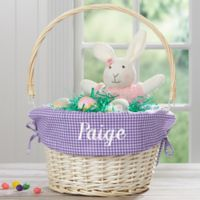 Personalized Willow Easter Basket with Drop-Down Handle in Purple Check