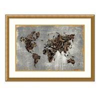 Amanti Art Gold World Map by Eva Watts 29-Inch x 22-Inch Framed Print