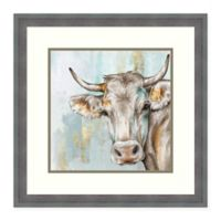Amanti Art Headstrong Cow by Eva Watts 22-Inch Square Framed Print