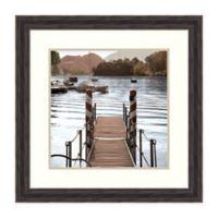 Amanti Art Island Harbor Pier 25-Inch Square Framed Print